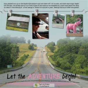 "p2PHangingFourBP Page by Jan McCallum for pixels2Pages.net ""Adventure"" Fonts: Expletive Deleted, My Own Topher"