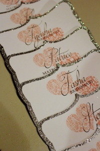 Tags for the bridesmaid gift boxes. Tags designed in Artisan and cut with the Cricut Explore using the print then cut feature.