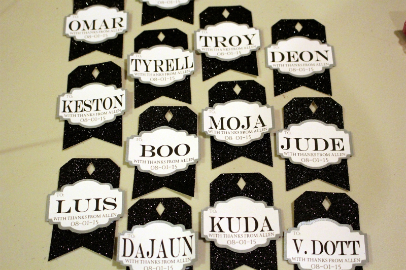 Finished groomsmen tags