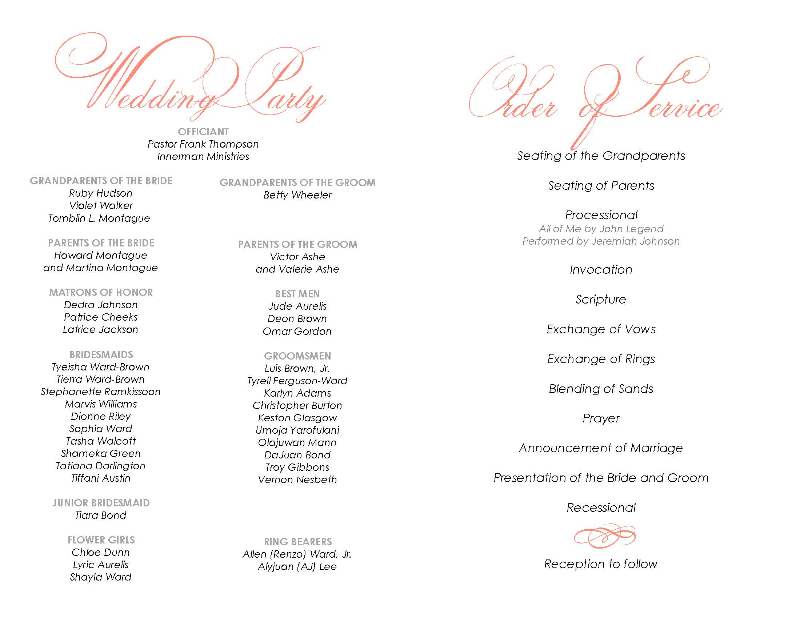 (Very low resolution) Wedding program designed in Artisan.  Inside.  Half fold.