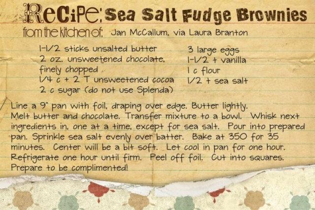 Sea Salt Brownies.jpg  Recipes for Life 4x6 Card Blueprints by pixels2Pages, Recipe Kit by StoryBook Legacy